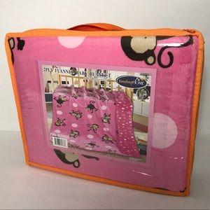 "Blanket Pink Baby Monkey SZ 55""x40"" NEW."